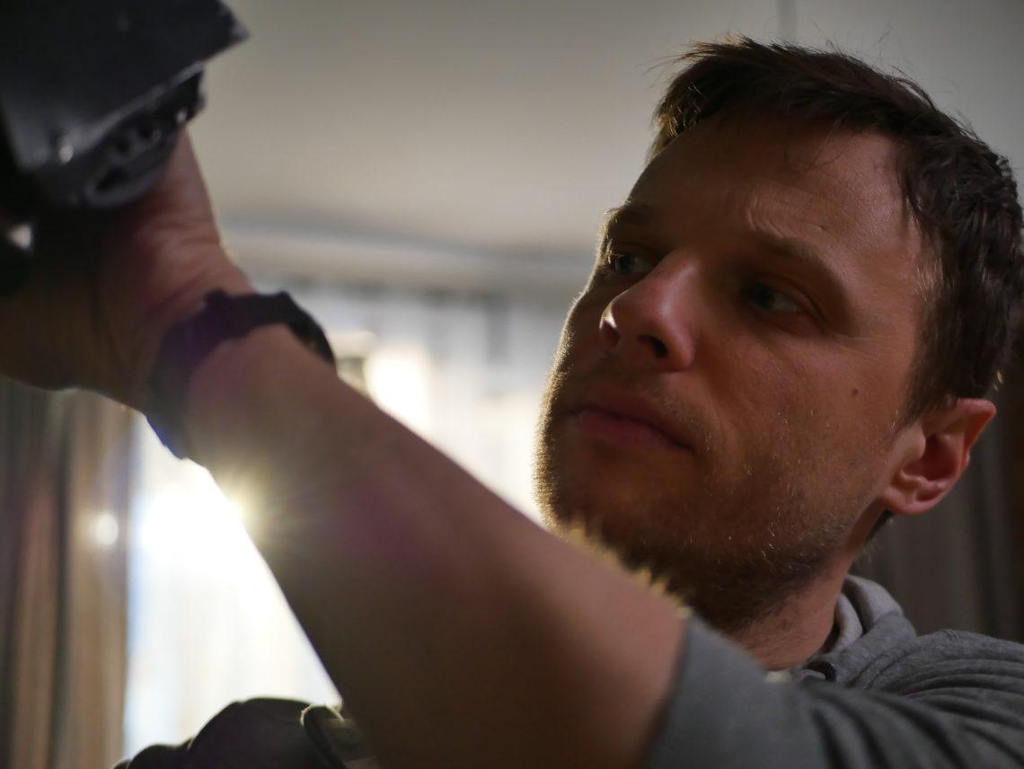 """Plan zdjęciowy filmu pt. """"Zbity pies"""" realizowany w ramach warsztatów - kierunek filmowy I rok Fot. Andrzej Kozerski"""